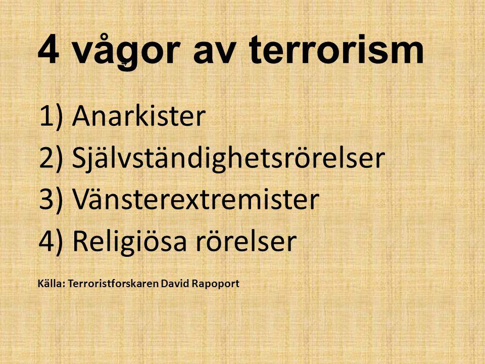1) Anarkister 2) Självständighetsrörelser 3) Vänsterextremister 4) Religiösa rörelser 4 vågor av terrorism 4 Källa: Terroristforskaren David Rapoport