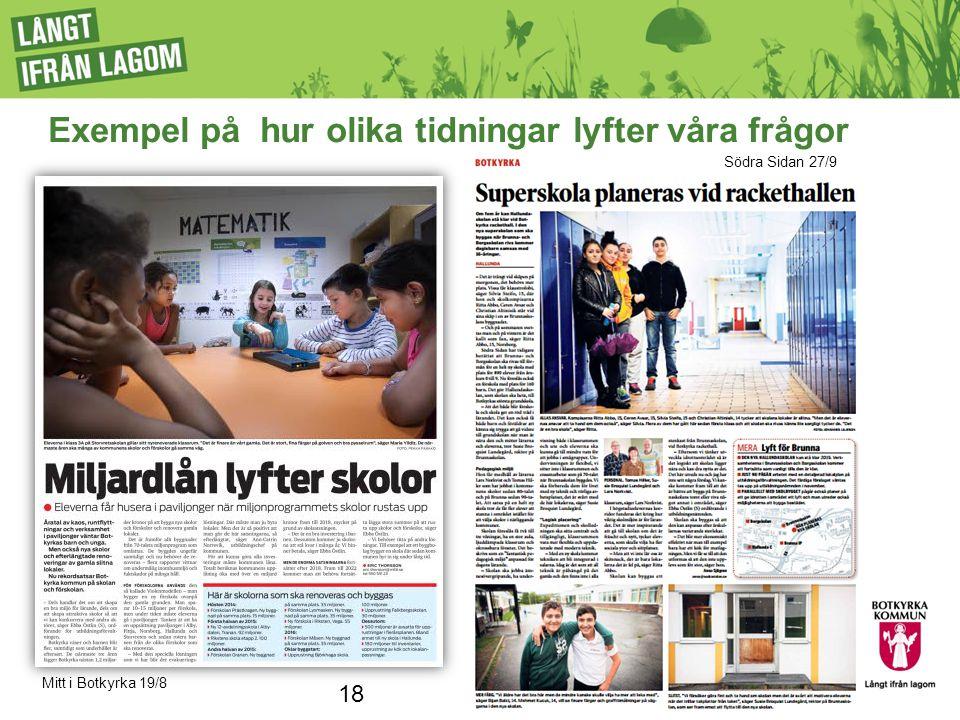 Exempel på hur olika tidningar lyfter våra frågor Mitt i Botkyrka 19/8 18 Södra Sidan 27/9