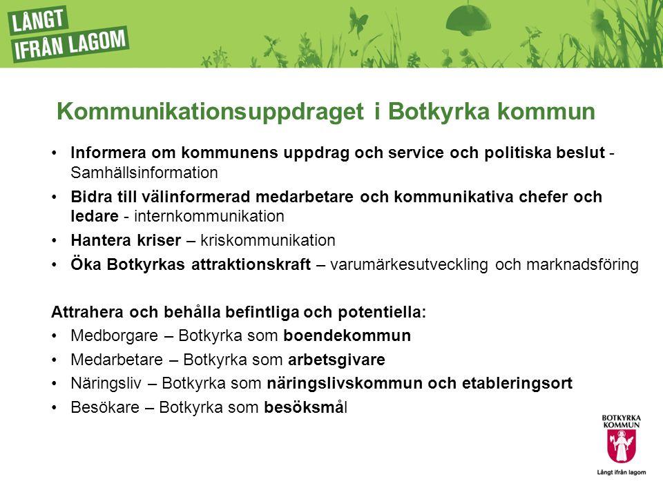 Kommunikationsuppdraget i Botkyrka kommun Informera om kommunens uppdrag och service och politiska beslut - Samhällsinformation Bidra till välinformer