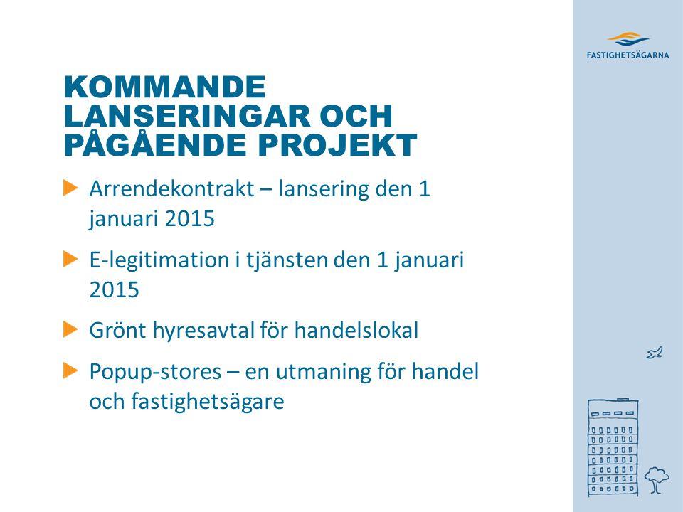 KOMMANDE LANSERINGAR OCH PÅGÅENDE PROJEKT Arrendekontrakt – lansering den 1 januari 2015 E-legitimation i tjänsten den 1 januari 2015 Grönt hyresavtal för handelslokal Popup-stores – en utmaning för handel och fastighetsägare
