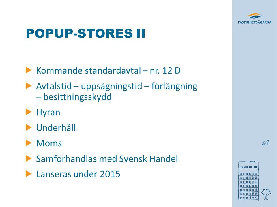 POPUP-STORES II Kommande standardavtal – nr.