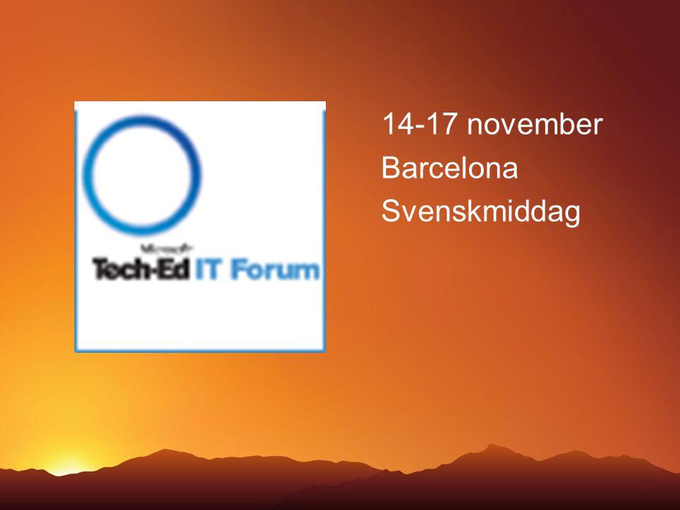 14-17 november Barcelona Svenskmiddag