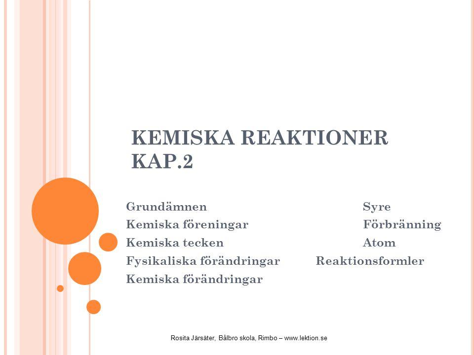 KEMISKA REAKTIONER KAP.2 GrundämnenSyre Kemiska föreningarFörbränning Kemiska teckenAtom Fysikaliska förändringarReaktionsformler Kemiska förändringar Rosita Järsäter, Bålbro skola, Rimbo – www.lektion.se
