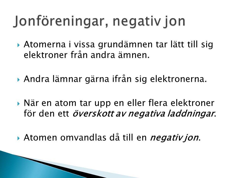  Det finns lika många protoner (positiva laddningar) som elektroner (negativa laddningar) i en atom.