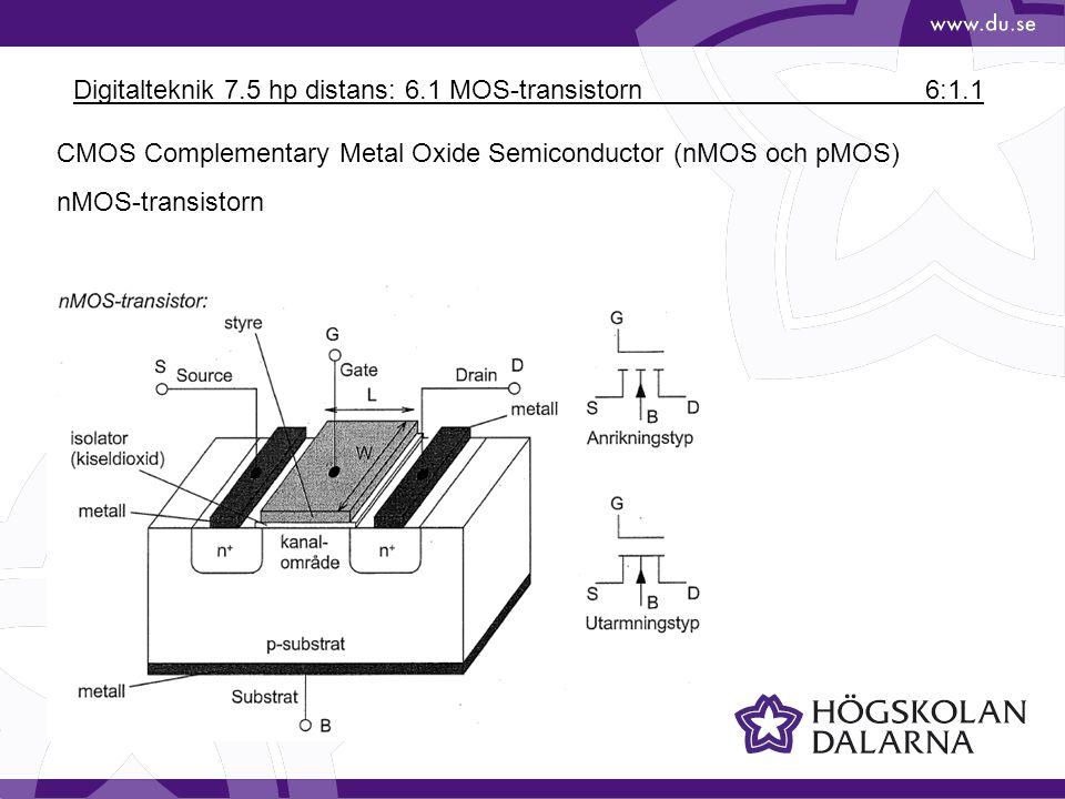 Digitalteknik 7.5 hp distans: 6.1 MOS-transistorn6:1.1 CMOS Complementary Metal Oxide Semiconductor (nMOS och pMOS) nMOS-transistorn
