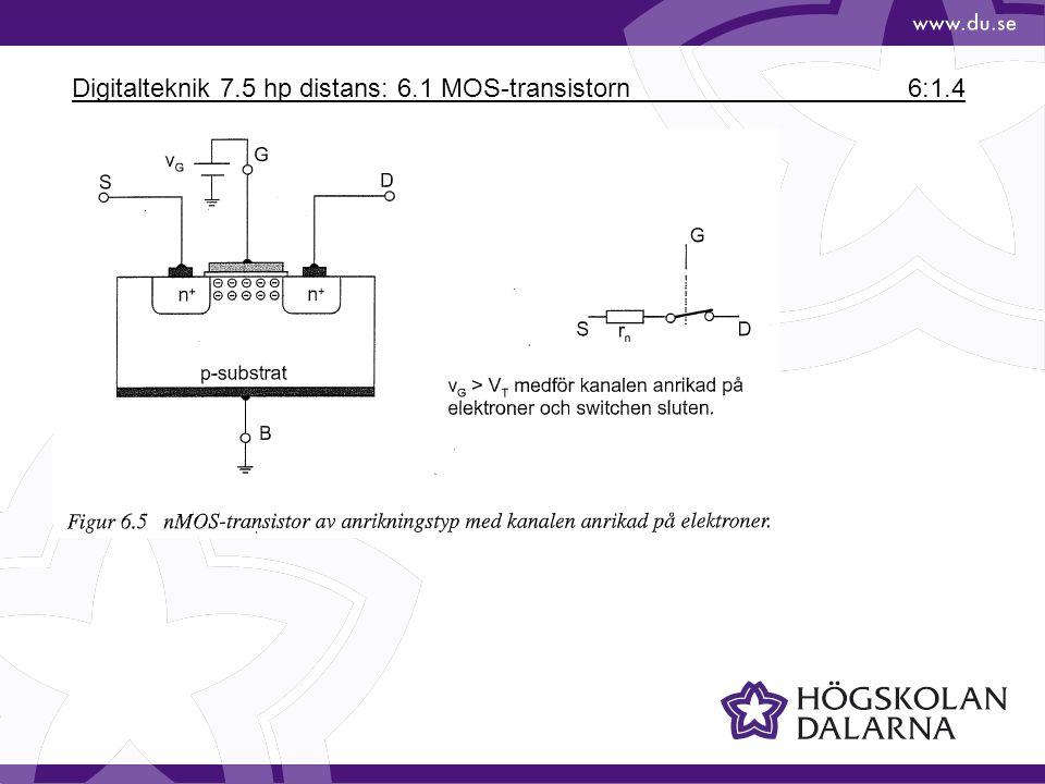 Digitalteknik 7.5 hp distans: 6.1 MOS-transistorn6:1.5 nMOS-transistor anrikningstyp => leder ström om VG > VT Utarmningstyp innebär att kanalen är (svagt) ndopad => leder ström för VG =0