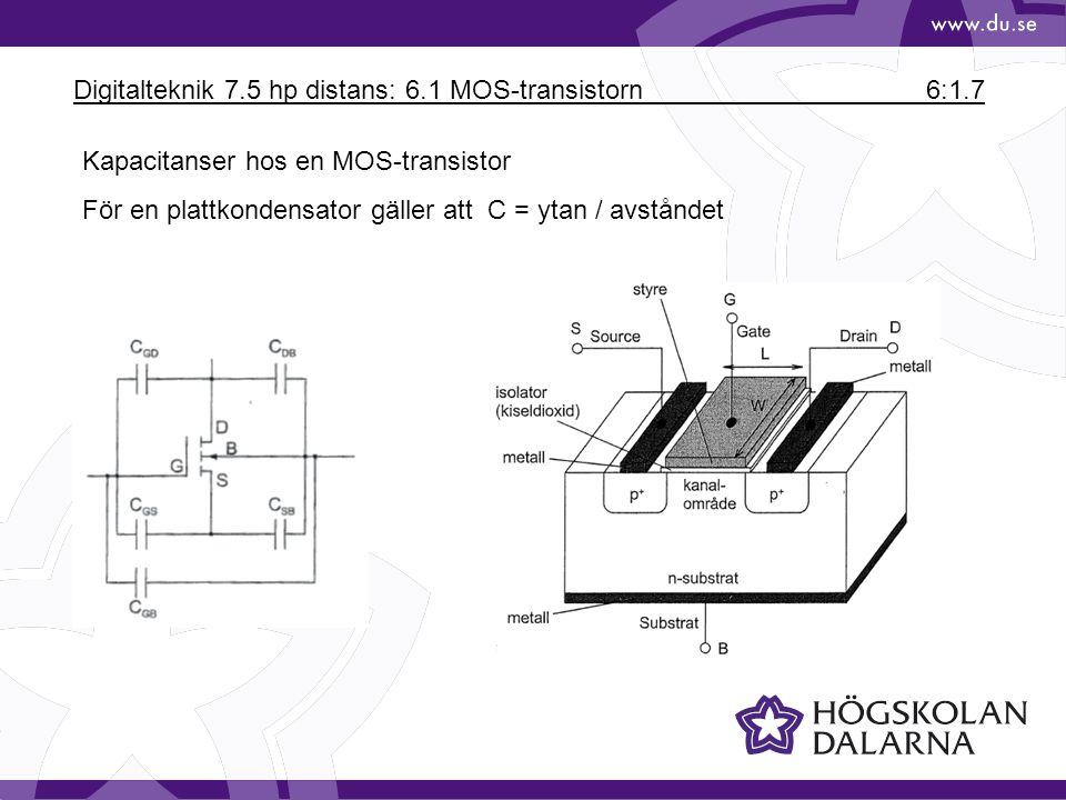 Digitalteknik 7.5 hp distans: 6.1 MOS-transistorn6:1.7 Kapacitanser hos en MOS-transistor För en plattkondensator gäller att C = ytan / avståndet