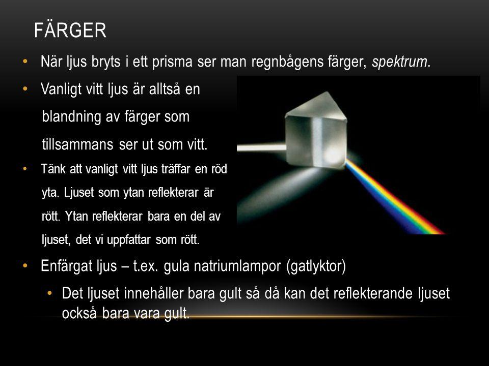 FÄRGER När ljus bryts i ett prisma ser man regnbågens färger, spektrum. Vanligt vitt ljus är alltså en blandning av färger som tillsammans ser ut som