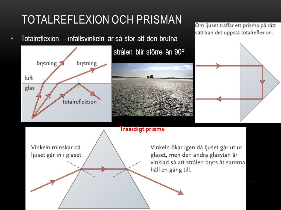 TOTALREFLEXION OCH PRISMAN Totalreflexion – infallsvinkeln är så stor att den brutna strålen blir större än 90 ⁰ Tresidigt prisma