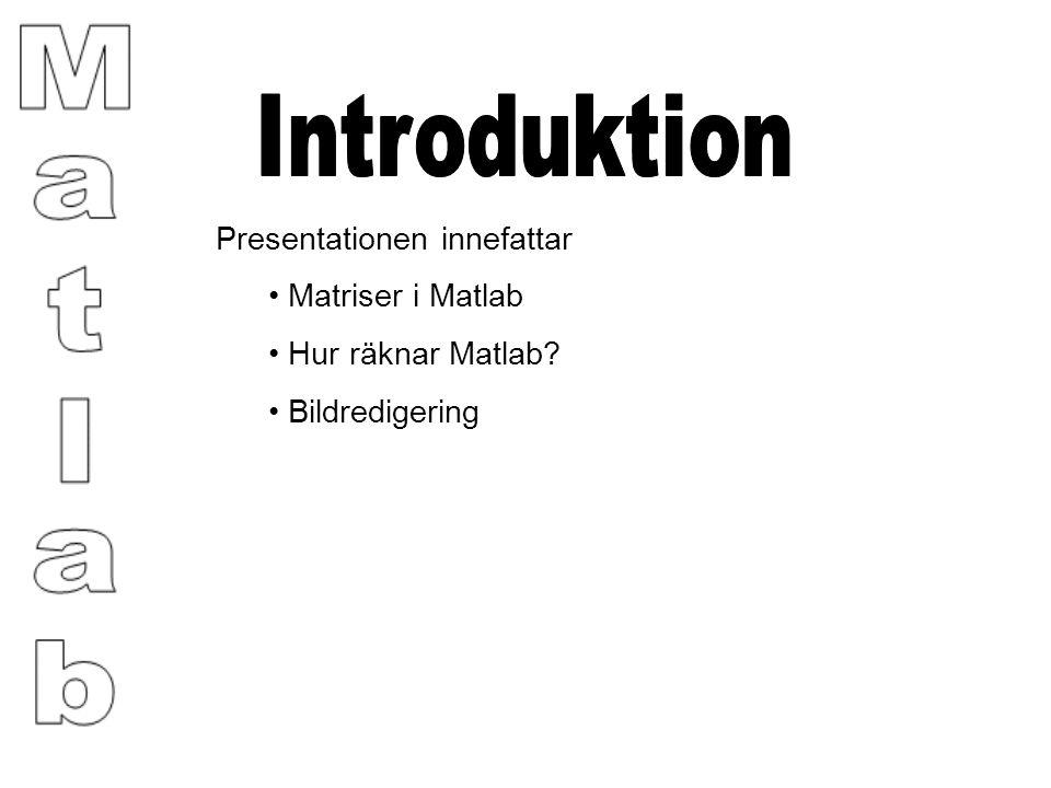 Presentationen innefattar Matriser i Matlab Hur räknar Matlab? Bildredigering