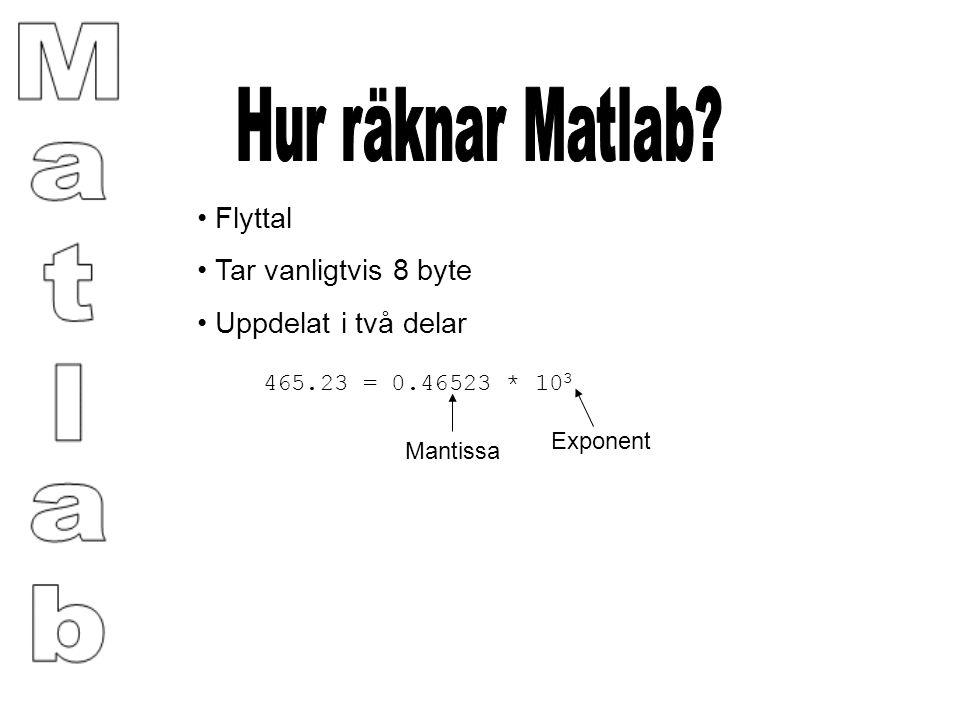 Flyttal Tar vanligtvis 8 byte Uppdelat i två delar 465.23 = 0.46523 * 10 3 Mantissa Exponent