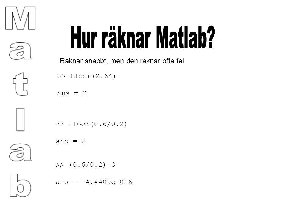 Räknar snabbt, men den räknar ofta fel >> floor(2.64) ans = 2 >> floor(0.6/0.2) ans = 2 >> (0.6/0.2)-3 ans = -4.4409e-016