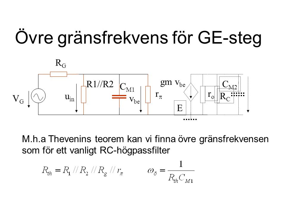 Övre gränsfrekvens för GE-steg roro rr E v be gm v be RCRC C M2 C M1 u in R1//R2 VGVG RGRG M.h.a Thevenins teorem kan vi finna övre gränsfrekvensen