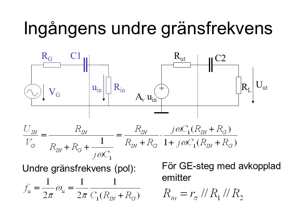 Utgångens undre gränsfrekvens Undre gränsfrekvens u in RLRL u ut VGVG RGRG R ut C2 A v u in R in + C1 För GE-steg med avkopplad emitter (R ut = R C //r o ):