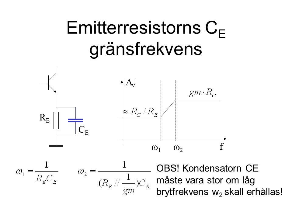 Emitterresistorns C E gränsfrekvens f |A v | CECE RERE 11 22 OBS! Kondensatorn CE måste vara stor om låg brytfrekvens w 2 skall erhållas!