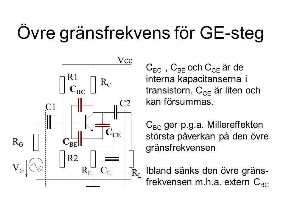 Övre gränsfrekvens för GE-steg C1 C2 CECE VGVG RGRG R1 R2 Vcc RLRL C BC RERE RCRC C BC, C BE och C CE är de interna kapacitanserna i transistorn. C CE
