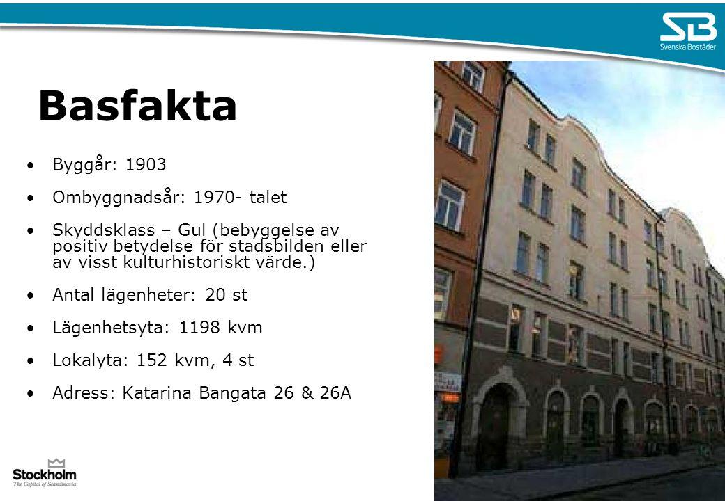 Basfakta Byggår: 1903 Ombyggnadsår: 1970- talet Skyddsklass – Gul (bebyggelse av positiv betydelse för stadsbilden eller av visst kulturhistoriskt vär