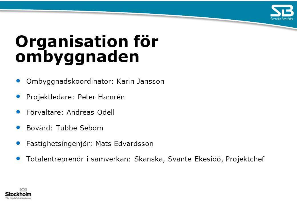 Organisation för ombyggnaden Ombyggnadskoordinator: Karin Jansson Projektledare: Peter Hamrén Förvaltare: Andreas Odell Bovärd: Tubbe Sebom Fastighets