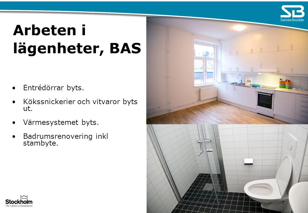 Arbeten i lägenheter, BAS Entrédörrar byts. Kökssnickerier och vitvaror byts ut. Värmesystemet byts. Badrumsrenovering inkl stambyte.