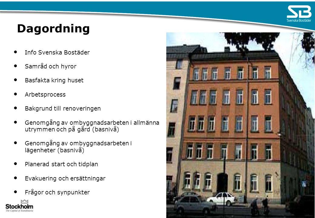Dagordning Info Svenska Bostäder Samråd och hyror Basfakta kring huset Arbetsprocess Bakgrund till renoveringen Genomgång av ombyggnadsarbeten i allmä