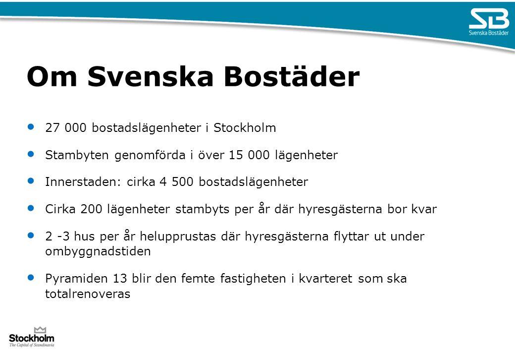 Om Svenska Bostäder 27 000 bostadslägenheter i Stockholm Stambyten genomförda i över 15 000 lägenheter Innerstaden: cirka 4 500 bostadslägenheter Cirk