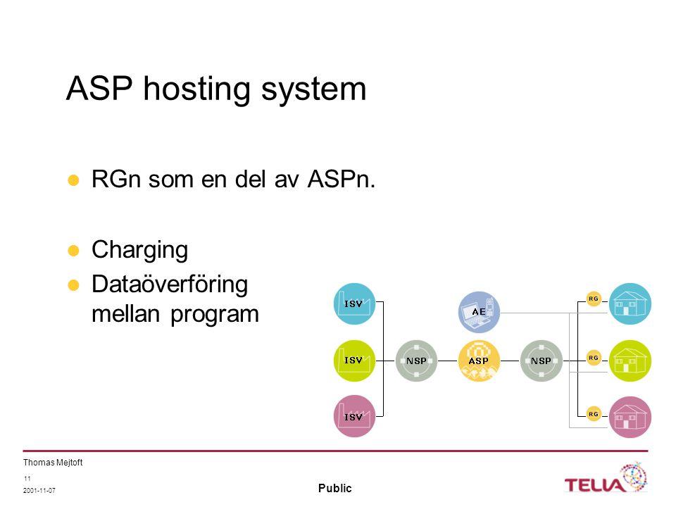 Public Thomas Mejtoft 2001-11-07 11 ASP hosting system RGn som en del av ASPn. Charging Dataöverföring mellan program