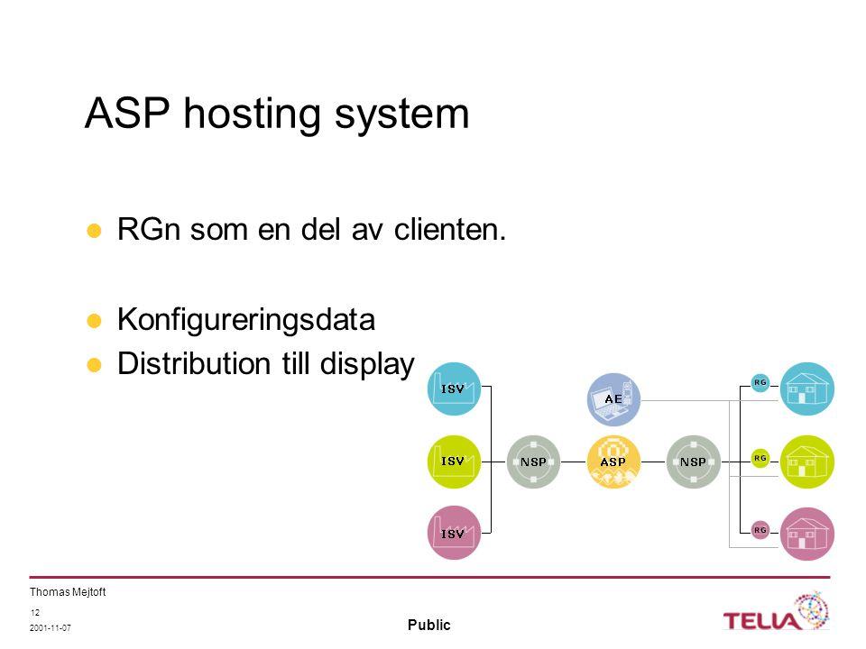 Public Thomas Mejtoft 2001-11-07 12 ASP hosting system RGn som en del av clienten. Konfigureringsdata Distribution till display