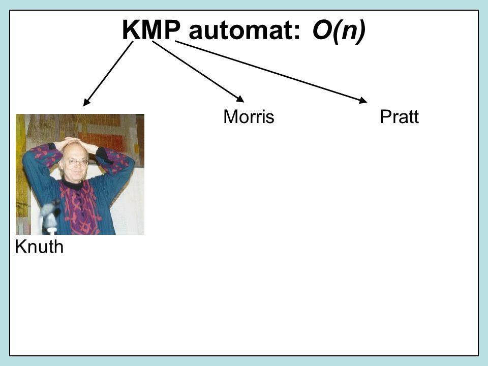 KMP automat: O(n) MorrisPratt Knuth