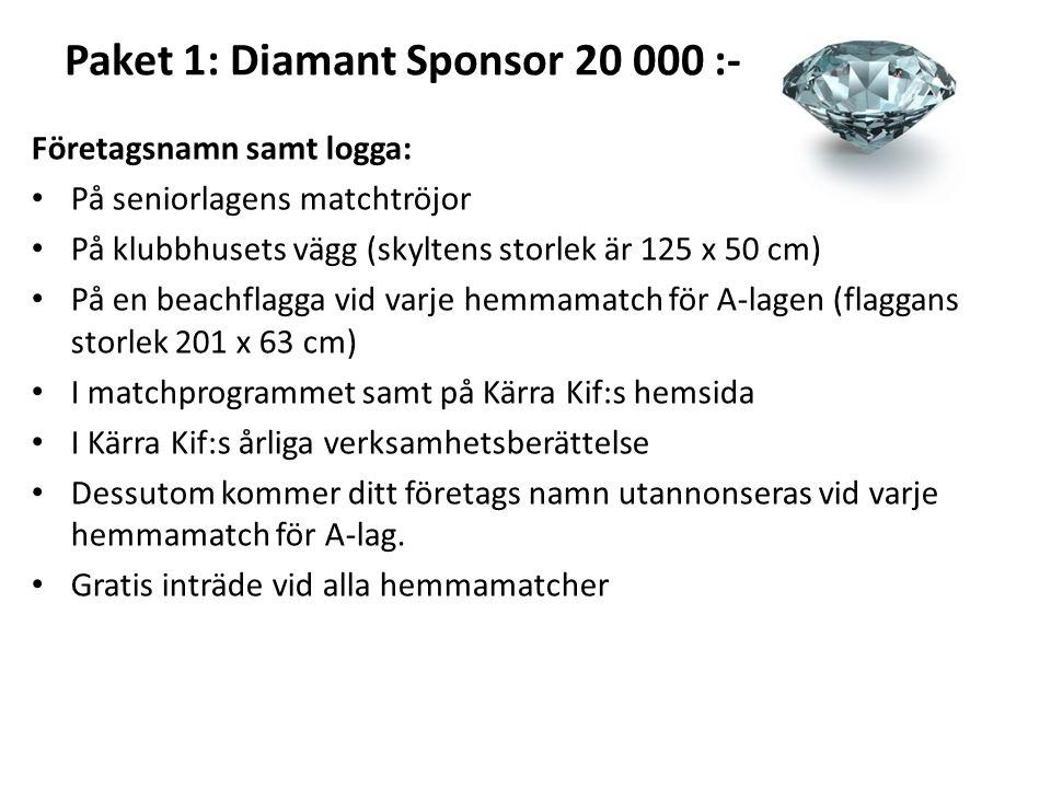 Paket 1: Diamant Sponsor 20 000 :- Företagsnamn samt logga: På seniorlagens matchtröjor På klubbhusets vägg (skyltens storlek är 125 x 50 cm) På en be