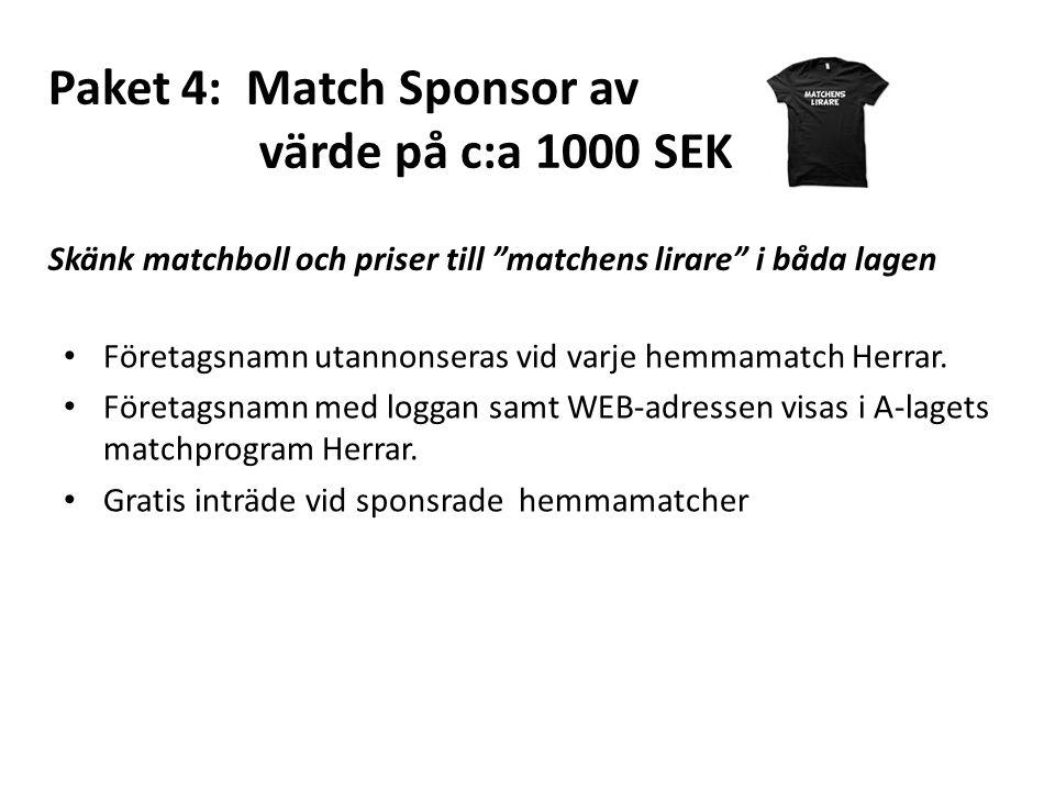Paket 4: Match Sponsor av värde på c:a 1000 SEK Skänk matchboll och priser till matchens lirare i båda lagen Företagsnamn utannonseras vid varje hemmamatch Herrar.