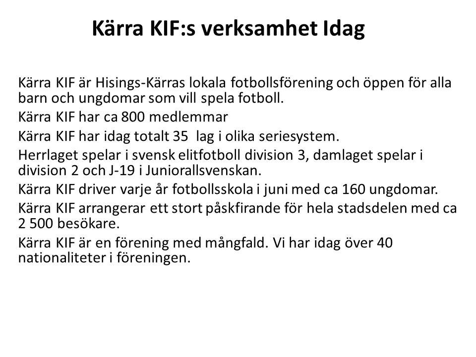 Kärra KIF:s verksamhet Idag Kärra KIF är Hisings-Kärras lokala fotbollsförening och öppen för alla barn och ungdomar som vill spela fotboll.