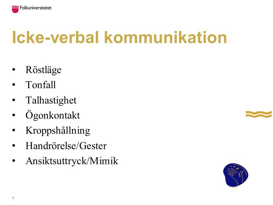 Icke-verbal kommunikation Röstläge Tonfall Talhastighet Ögonkontakt Kroppshållning Handrörelse/Gester Ansiktsuttryck/Mimik 3