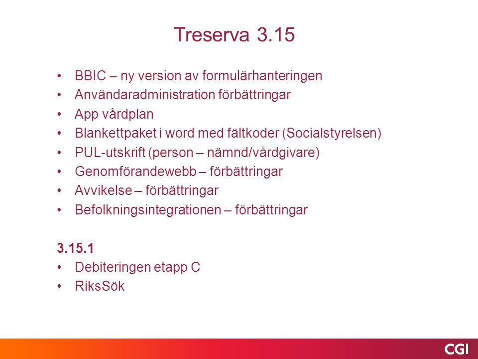 Treserva 3.15 BBIC – ny version av formulärhanteringen Användaradministration förbättringar App vårdplan Blankettpaket i word med fältkoder (Socialstyrelsen) PUL-utskrift (person – nämnd/vårdgivare) Genomförandewebb – förbättringar Avvikelse – förbättringar Befolkningsintegrationen – förbättringar 3.15.1 Debiteringen etapp C RiksSök