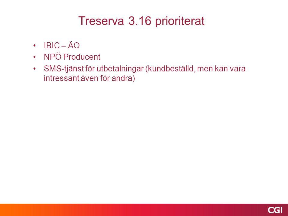Treserva 3.16 prioriterat IBIC – ÄO NPÖ Producent SMS-tjänst för utbetalningar (kundbeställd, men kan vara intressant även för andra)