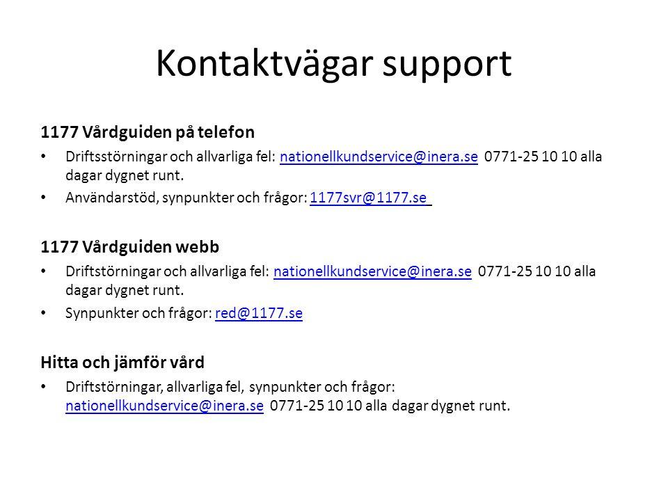 Kontaktvägar support 1177 Vårdguiden på telefon Driftsstörningar och allvarliga fel: nationellkundservice@inera.se 0771-25 10 10 alla dagar dygnet runt.nationellkundservice@inera.se Användarstöd, synpunkter och frågor: 1177svr@1177.se 1177svr@1177.se 1177 Vårdguiden webb Driftstörningar och allvarliga fel: nationellkundservice@inera.se 0771-25 10 10 alla dagar dygnet runt.nationellkundservice@inera.se Synpunkter och frågor: red@1177.sered@1177.se Hitta och jämför vård Driftstörningar, allvarliga fel, synpunkter och frågor: nationellkundservice@inera.se 0771-25 10 10 alla dagar dygnet runt.