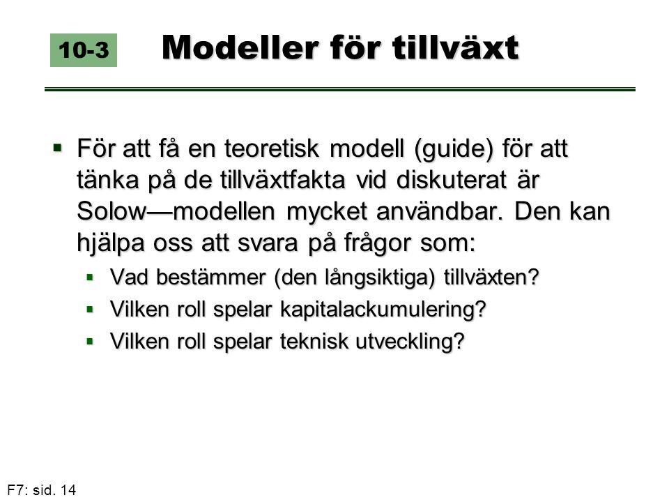 F7: sid. 14 Modeller för tillväxt  För att få en teoretisk modell (guide) för att tänka på de tillväxtfakta vid diskuterat är Solow—modellen mycket a