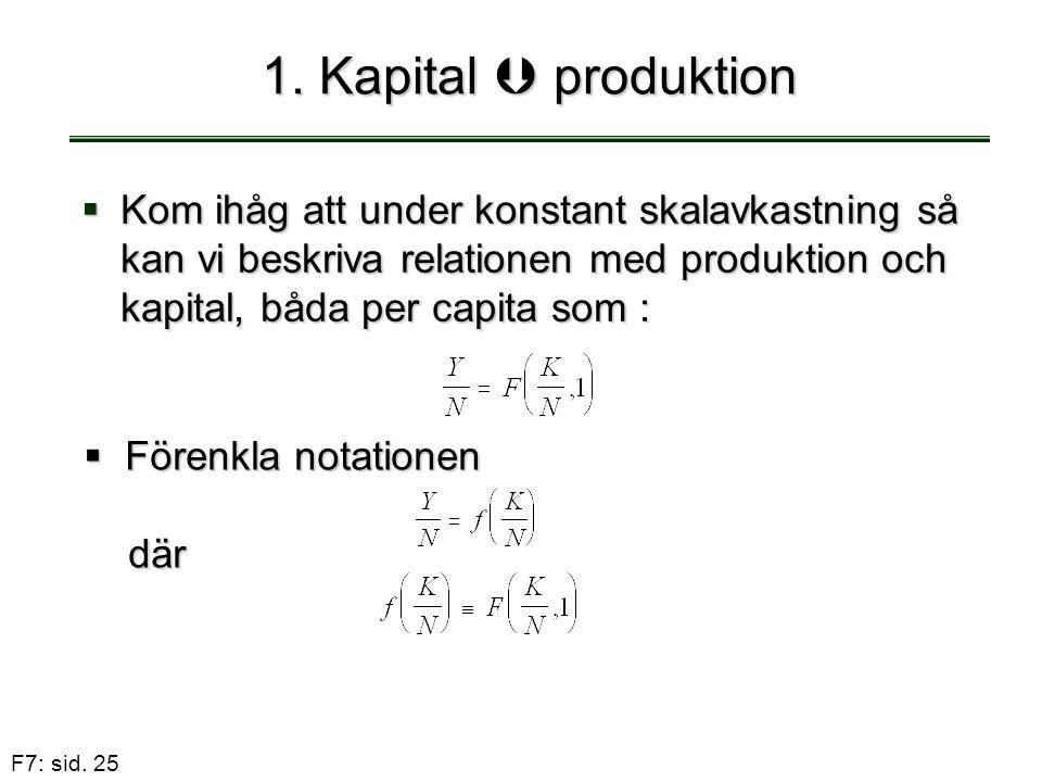 F7: sid. 25 1. Kapital  produktion  Kom ihåg att under konstant skalavkastning så kan vi beskriva relationen med produktion och kapital, båda per ca