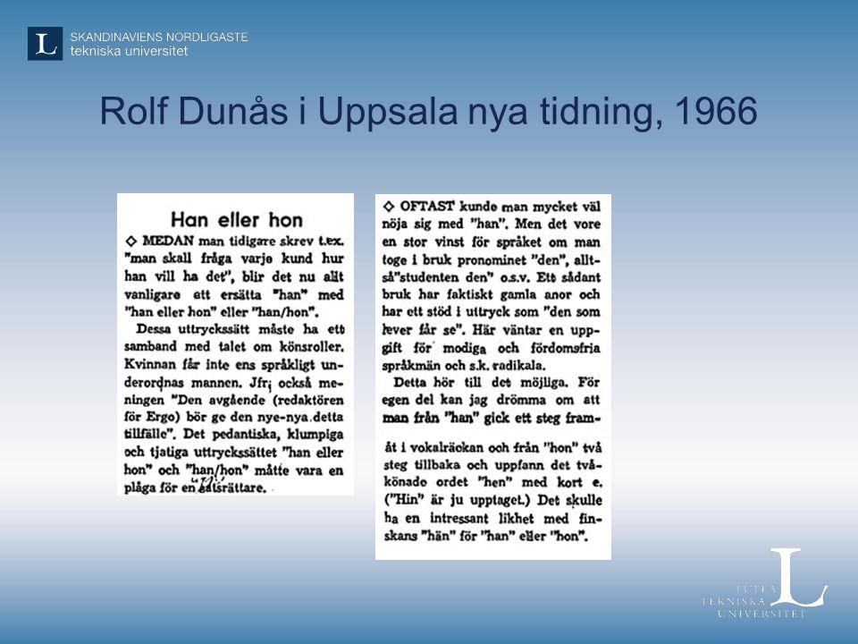 Rolf Dunås i Uppsala nya tidning, 1966