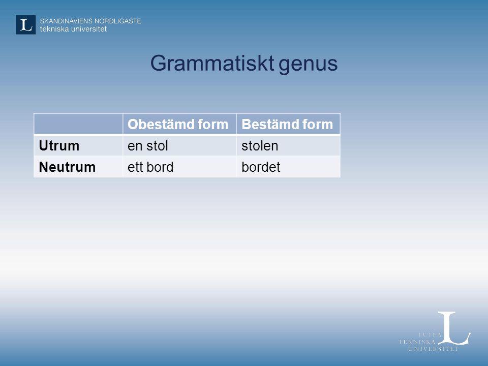 Grammatiskt genus Obestämd formBestämd form Utrumen stolstolen Neutrumett bordbordet