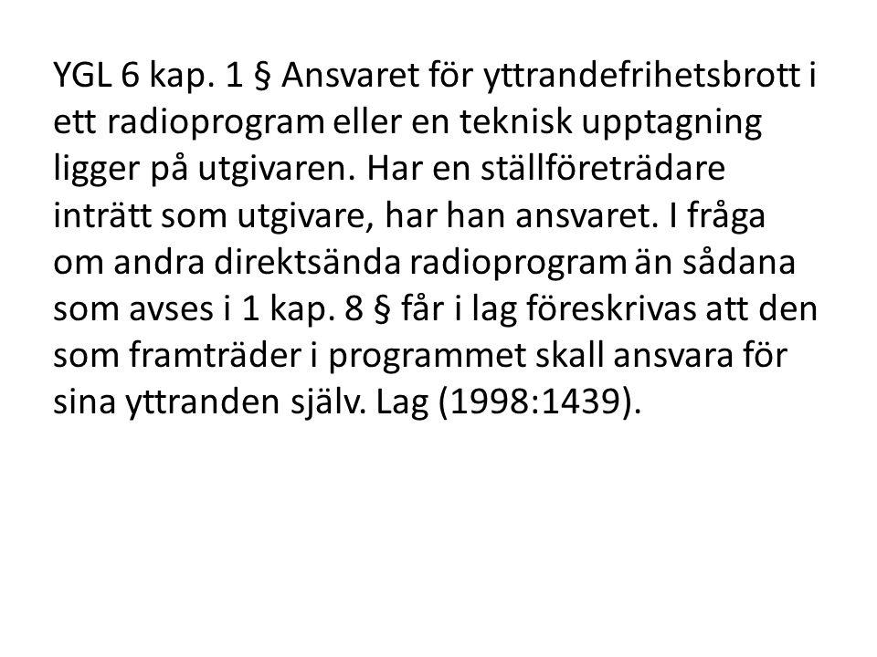 YGL 6 kap. 1 § Ansvaret för yttrandefrihetsbrott i ett radioprogram eller en teknisk upptagning ligger på utgivaren. Har en ställföreträdare inträtt s