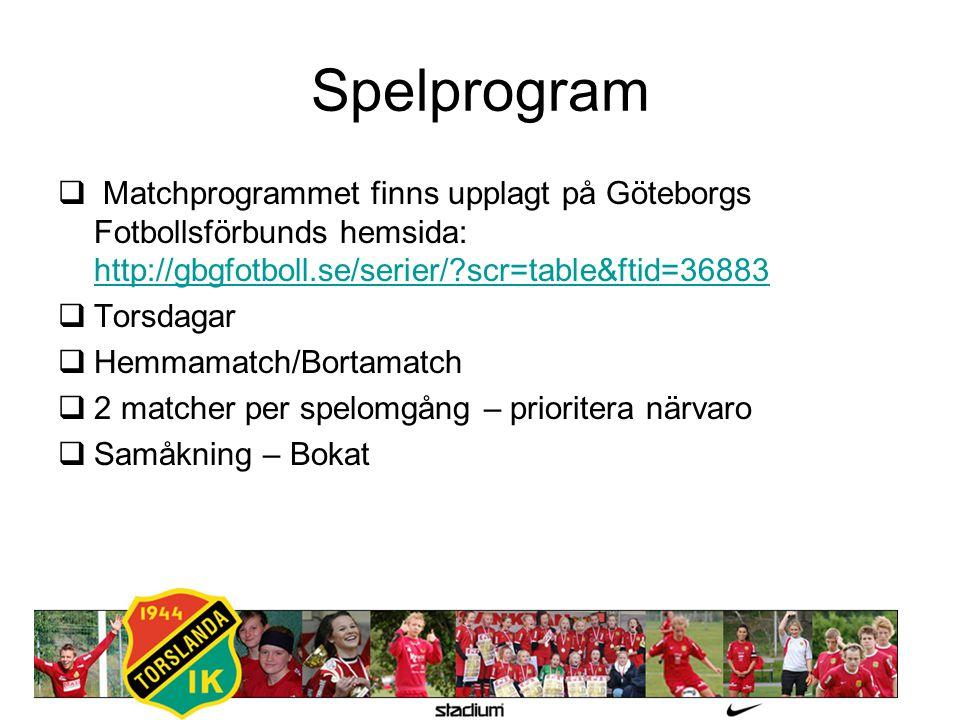 Spelprogram  Matchprogrammet finns upplagt på Göteborgs Fotbollsförbunds hemsida: http://gbgfotboll.se/serier/?scr=table&ftid=36883 http://gbgfotboll.se/serier/?scr=table&ftid=36883  Torsdagar  Hemmamatch/Bortamatch  2 matcher per spelomgång – prioritera närvaro  Samåkning – Bokat