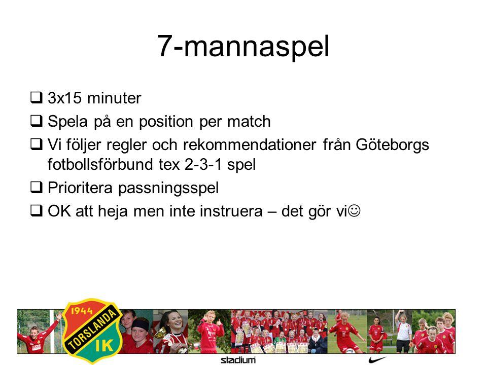7-mannaspel  3x15 minuter  Spela på en position per match  Vi följer regler och rekommendationer från Göteborgs fotbollsförbund tex 2-3-1 spel  Pr