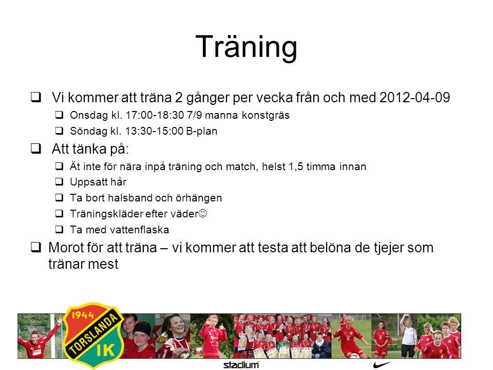 Träning  Vi kommer att träna 2 gånger per vecka från och med 2012-04-09  Onsdag kl. 17:00-18:30 7/9 manna konstgräs  Söndag kl. 13:30-15:00 B-plan