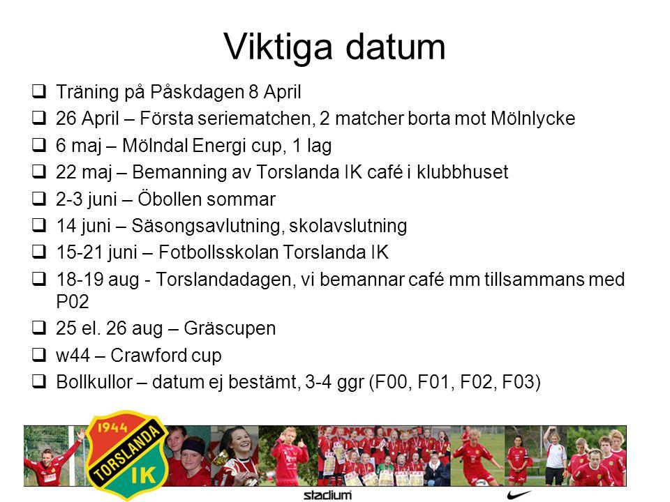 Viktiga datum  Träning på Påskdagen 8 April  26 April – Första seriematchen, 2 matcher borta mot Mölnlycke  6 maj – Mölndal Energi cup, 1 lag  22 maj – Bemanning av Torslanda IK café i klubbhuset  2-3 juni – Öbollen sommar  14 juni – Säsongsavlutning, skolavslutning  15-21 juni – Fotbollsskolan Torslanda IK  18-19 aug - Torslandadagen, vi bemannar café mm tillsammans med P02  25 el.