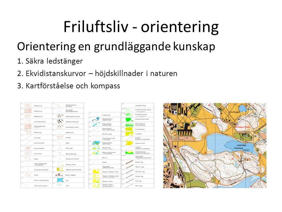 Friluftsliv - orientering Orientering en grundläggande kunskap 1. Säkra ledstänger 2. Ekvidistanskurvor – höjdskillnader i naturen 3. Kartförståelse o