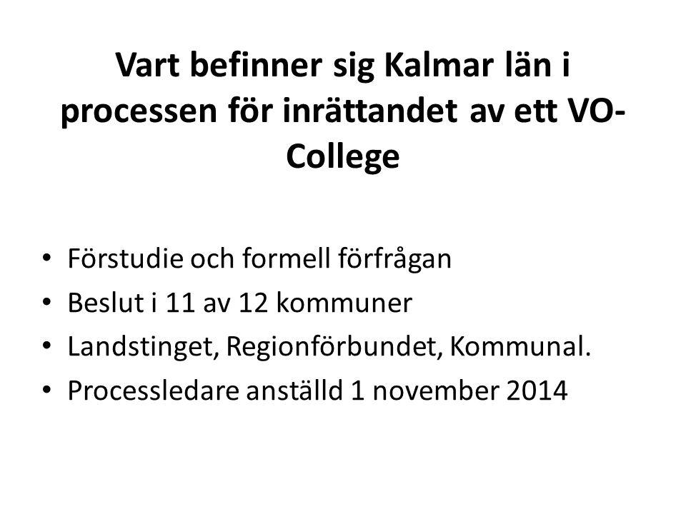Vart befinner sig Kalmar län i processen för inrättandet av ett VO- College Förstudie och formell förfrågan Beslut i 11 av 12 kommuner Landstinget, Re