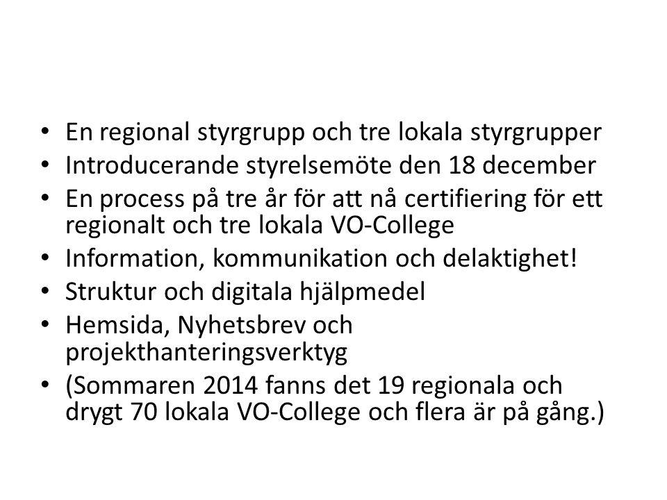 En regional styrgrupp och tre lokala styrgrupper Introducerande styrelsemöte den 18 december En process på tre år för att nå certifiering för ett regi