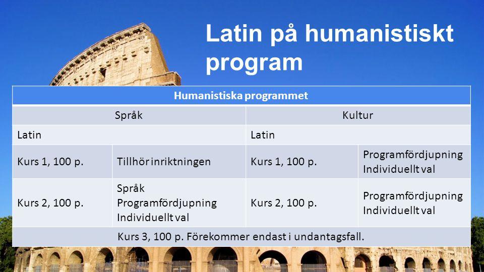 Latin på humanistiskt program Humanistiska programmet Språk Kultur Latin Kurs 1, 100 p.Tillhör inriktningenKurs 1, 100 p.