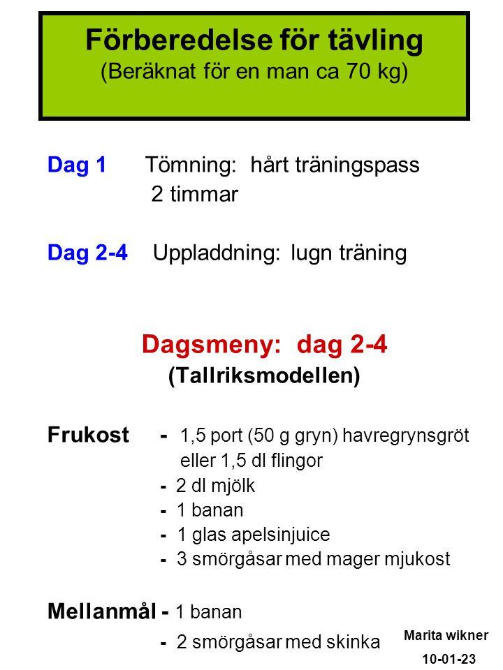 Dag 1 Tömning: hårt träningspass 2 timmar Dag 2-4 Uppladdning: lugn träning Dagsmeny: dag 2-4 (Tallriksmodellen) Frukost - 1,5 port (50 g gryn) havreg