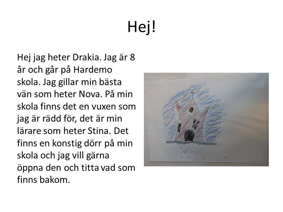 Hej! Hej jag heter Drakia. Jag är 8 år och går på Hardemo skola. Jag gillar min bästa vän som heter Nova. På min skola finns det en vuxen som jag är r